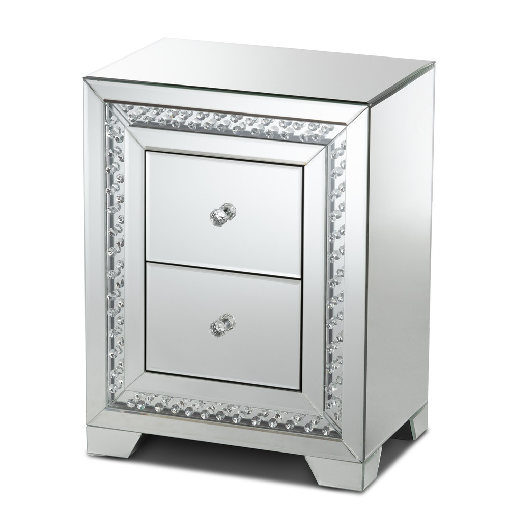 Mina Mirrored 2 Drawer Nightstand Bedside Table Silver Baxtonstudio