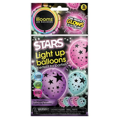 5ct illooms LED Light Up Mixed Solid Stars Balloon
