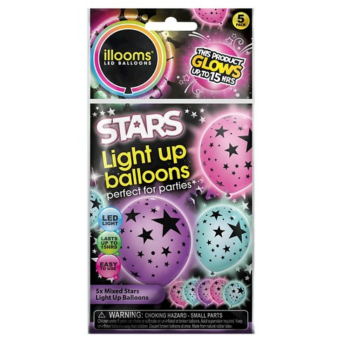 5ct illooms® LED Light Up Mixed Solid Stars Balloon - image 1 of 1
