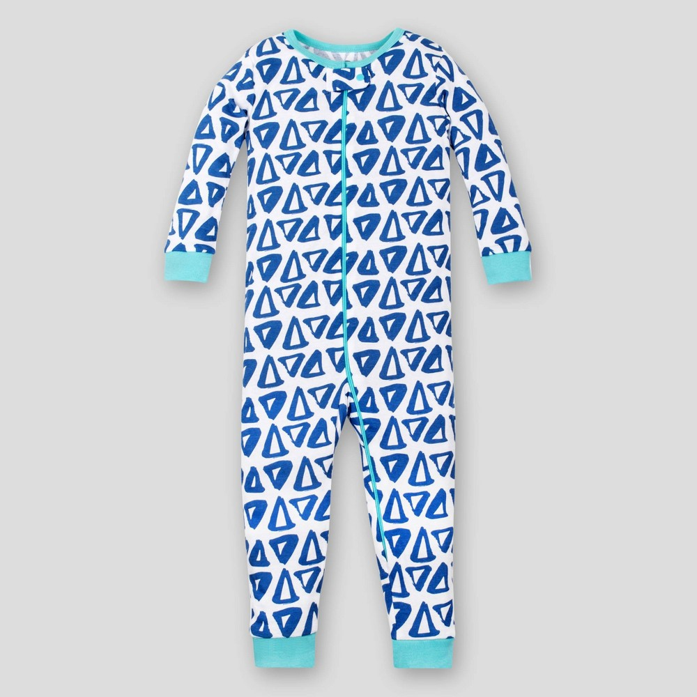 Lamaze Baby Boys' Triangle Footless Organic Cotton Long Sleeve Stretchy One Piece Pajama - Blue 18M