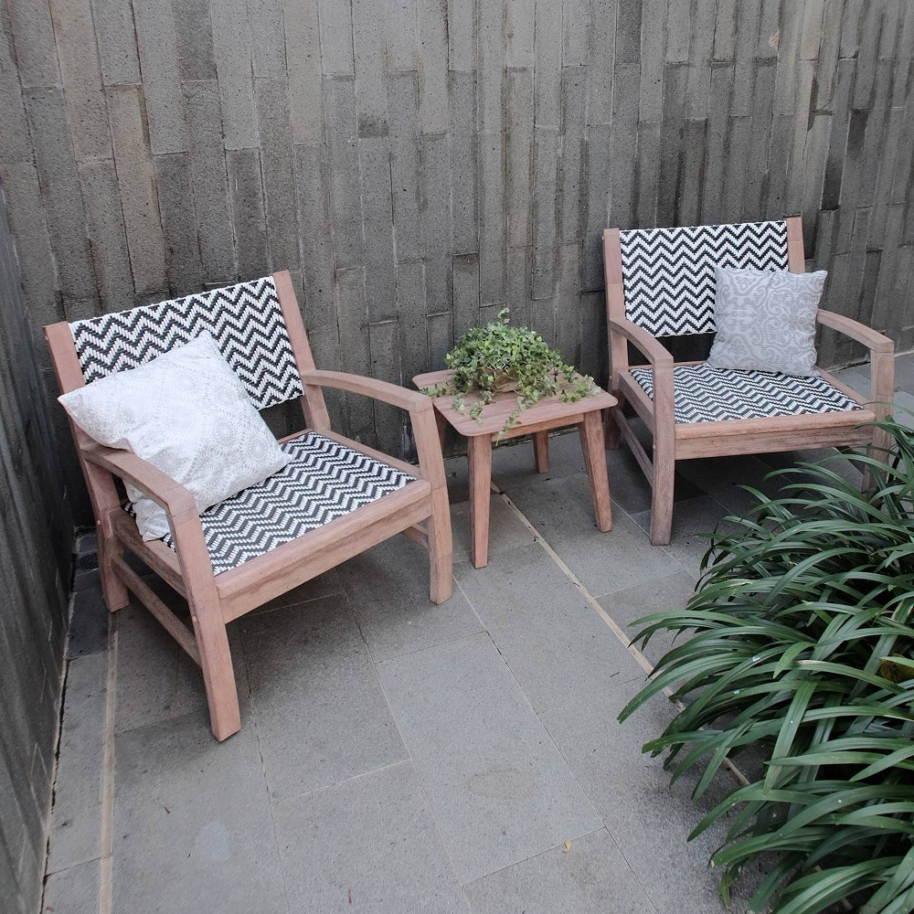 Abbey 3pc Outdoor Patio Chat Set - Weathered White - Cambridge Casual