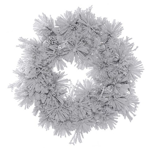"30"" Christmas Alberta Wreath - Flocked White on Green - image 1 of 1"