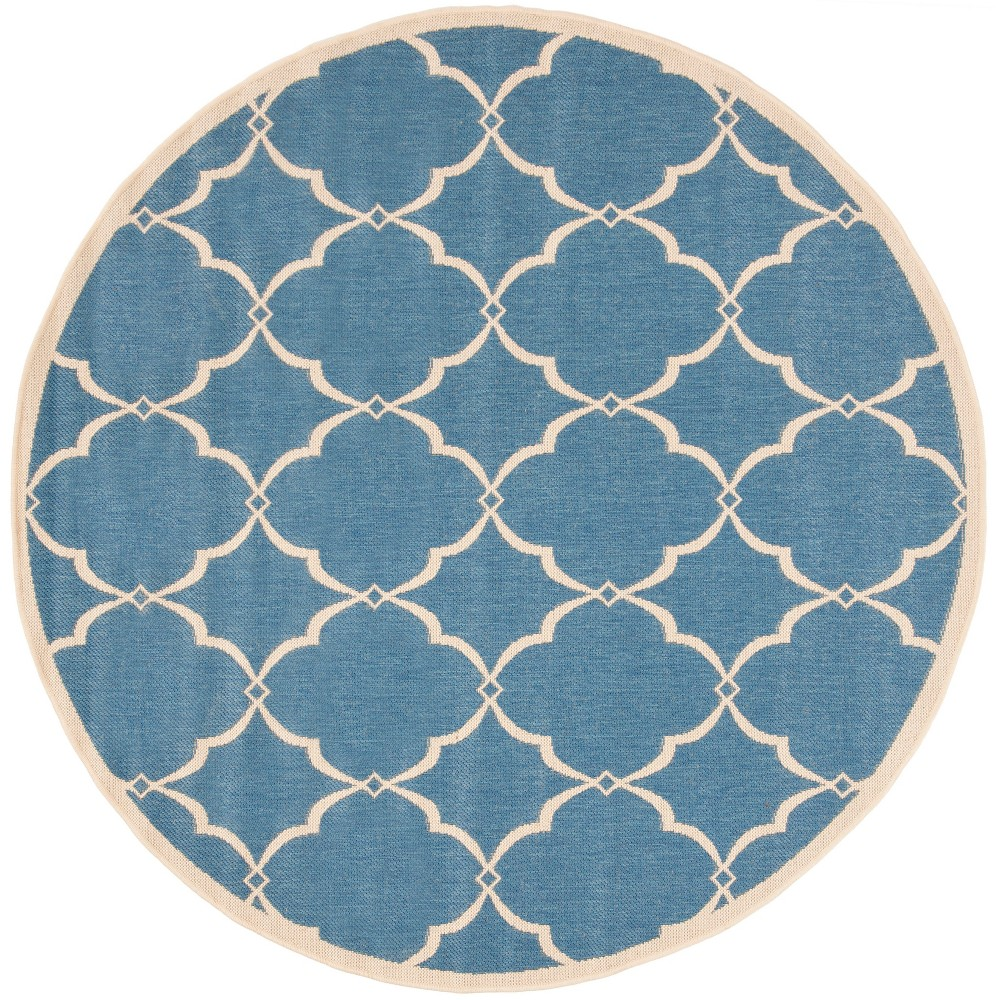 67 Round Geometric Loomed Area Rug Blue - Safavieh Buy