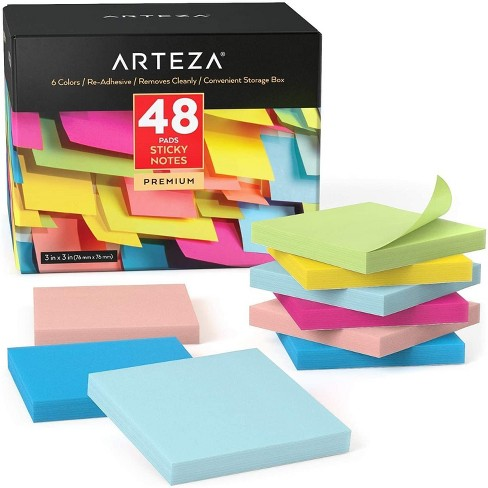 Arteza Sticky Notes, Assorted Colors, 100 Sheets for School - 48 Pack (ARTZ-8548) - image 1 of 4