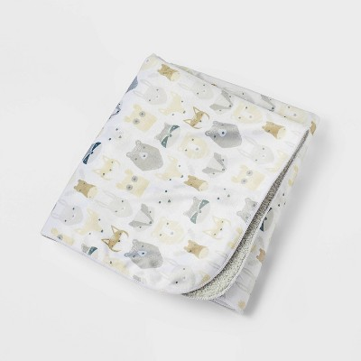 Plush Velboa Baby Blanket Woodland Animals - Cloud Island™ Gray