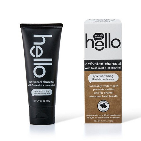 Hello Activated Charcoal Whitening Fluoride Toothpaste Sls Free