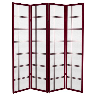 6 ft. Tall Canvas Double Cross Room Divider 4 Panels - Oriental Furniture