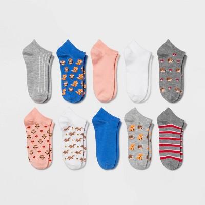 Women's Forest Critters 10pk Low Cut Socks - Xhilaration™ Blue/Pink/Gray 4-10