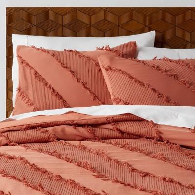 3pc King Diagonal Textured Duvet & Sham Set Rust - Opalhouse™