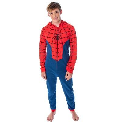 Marvel Comics Classic Spiderman Costume Pajama Union Suit One-Piece Outfit