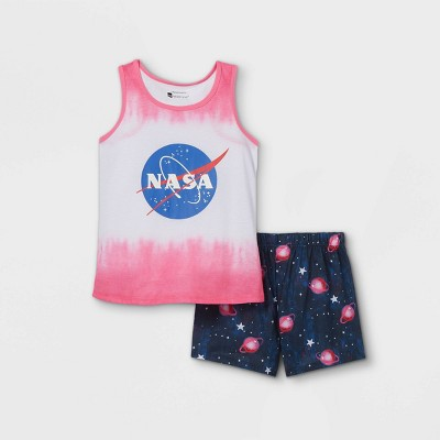 Girls' NASA Tie-Dye 2pc Pajama Set - Pink/Blue