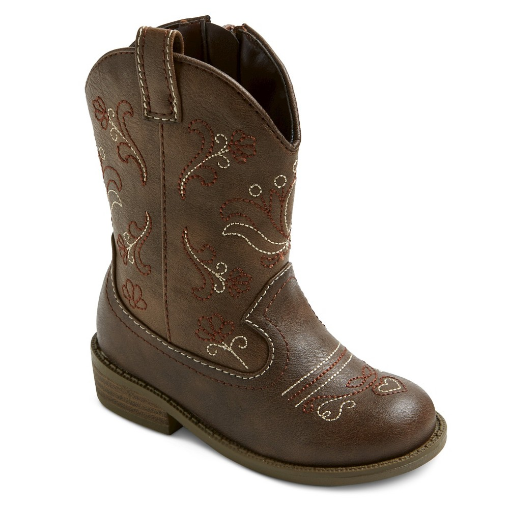 Image of Toddler Girls' Chloe Classic Cowboy Western Boots - Cat & Jack Brown 10, Girl's