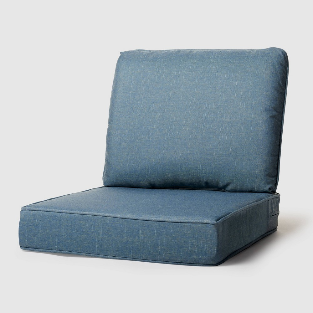 Image of 2pc Outdoor Seat and Back Replacement Cushions Niagara Blue - Grand Basket
