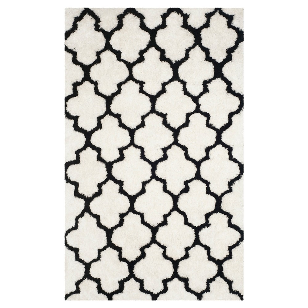 Leila Printed Shag Rug - Ivory/Black (5'X8') - Safavieh