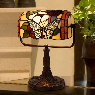 Tiffany Style Bankers Lamp with Butterfly Design