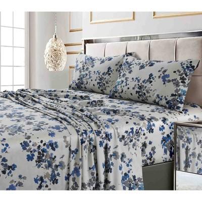 Queen 300 Thread Count Printed Pattern Sateen Sheet Set Blue Lisbon - Tribeca Living
