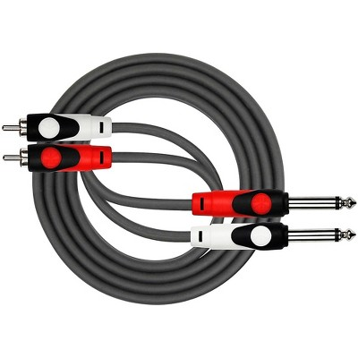 "KIRLIN Lightgear Dual Black Patch Cable 2x 1/4"" Mono to 2x RCA"