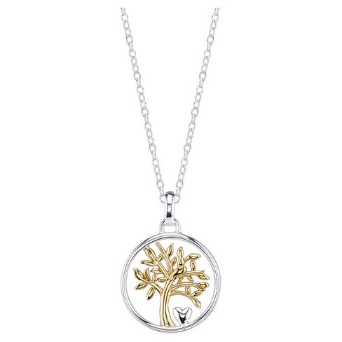 "Women's Sterling Silver Two Tone My family my love Tree Necklace - Silver/Gold(18"") - image 1 of 2"