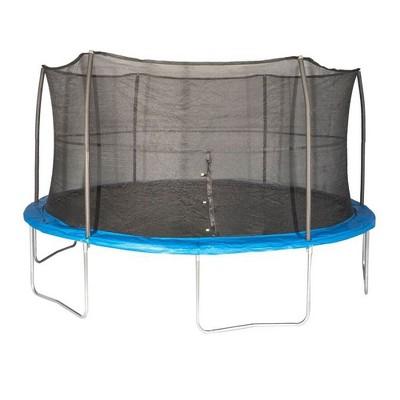 JumpKing JK15VC2 15 Foot Outdoor Trampoline & Safety Net Enclosure Kit, Blue