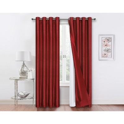 Kate Aurora Living 2 Pack Double Layered 100% Blackout And Sheer Window Curtains