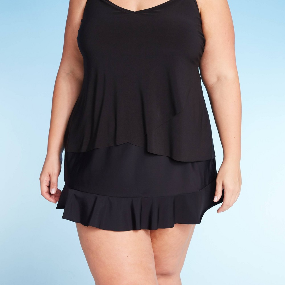 Image of Women's Ruffle Swim Skirt - Aqua Green Black 16W/18W