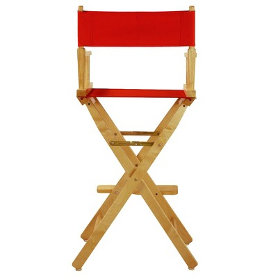 Bar-Height Director's Chair - Natural Frame, Red Canvas