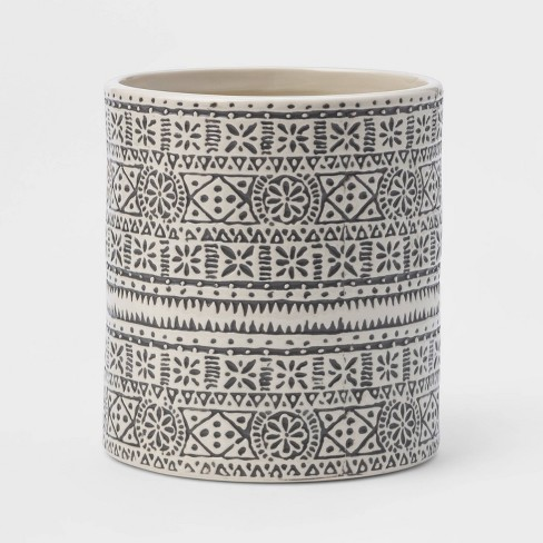 Stoneware Genesis Stripe Utensil Holder White/Gray - Threshold™ - image 1 of 1