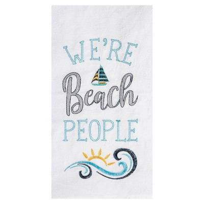 C&F Home We're Beach People Embroidered Flour Sack Cotton Kitchen Towel