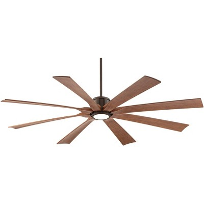 "70"" Possini Euro Design Modern Outdoor Ceiling Fan with Light LED Dimmable Remote Oil Rubbed Bronze Koa Damp Rated for Patio Porch"