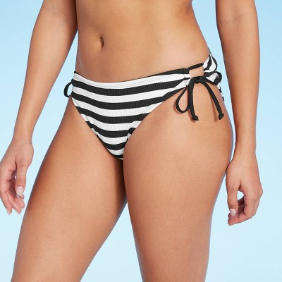 Women's Rio Ribbed Keyhole Modern Bikini Bottom - Kona Sol™ Black & White Stripe