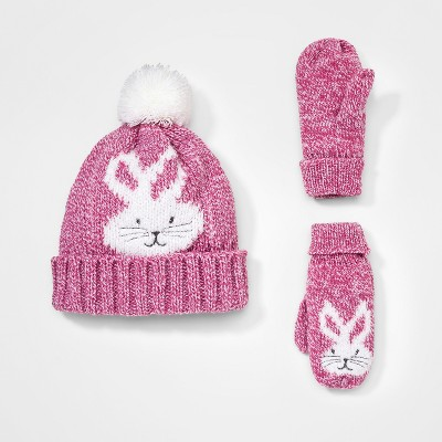 Baby Girls' Igloos® Handwear And Headwear Sets- Pink