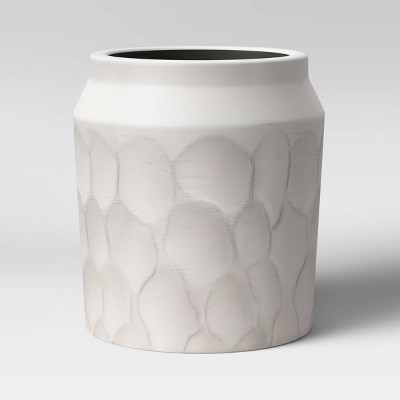 "8"" Stoneware Carved Floral Planter White - Opalhouse™"