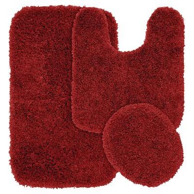 3pc Jazz Shaggy Washable Nylon Bath Rug Set Chili Pepper Red - Garland