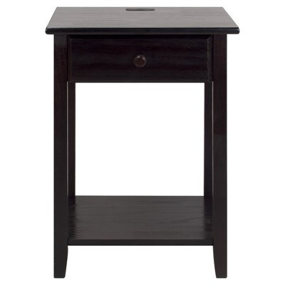 Nightstand with Usb Port - Espresso Brown - Flora Home