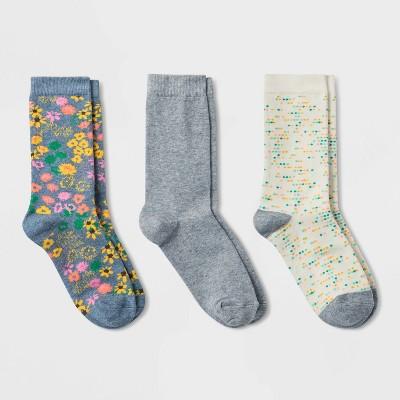 Women's Floral 3pk Crew Socks - A New Day™ Denim Heather 4-10