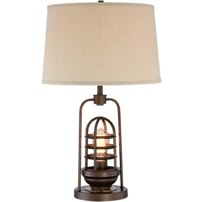 Franklin Iron Works Industrial Table Lamp with Nightlight LED Edison Bulb Rust Bronze Cage Drum Shade for Living Room Family