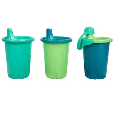 The First Years GreenGrown Reusable Spill-Proof Sippy Toddler Cups - Blue - 3pk/10oz