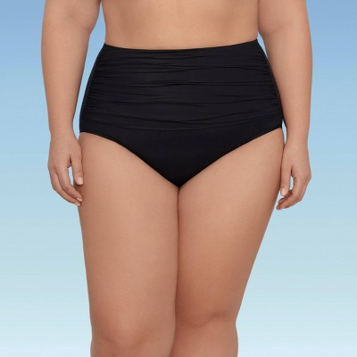 Women's Plus Size Slimming Control High Waist Swim Briefs - Dreamsuit by Miracle Brands Black