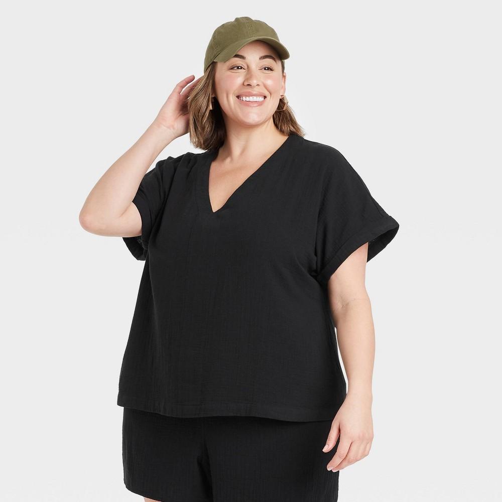 Women 39 S Plus Size Short Sleeve Blouse Universal Thread 8482 Black 3x