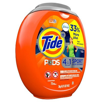 Tide Pods Laundry Detergent Pacs With Febreze Sport Odor Defense Active Fresh - 73ct