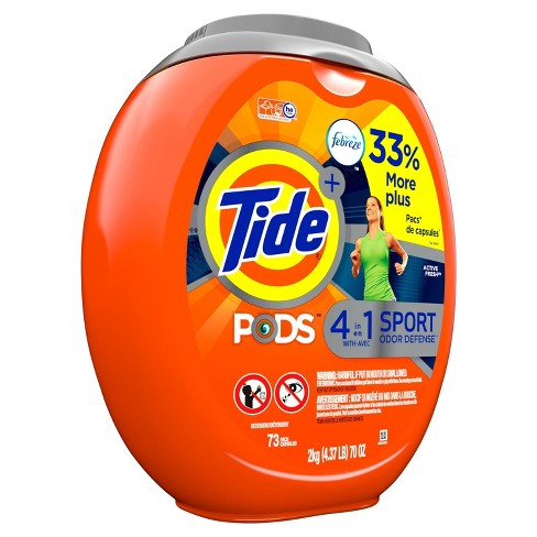 Tide Pods Laundry Detergent Pacs With Febreze Sport Odor Defense Active Fresh - 73ct - image 1 of 3
