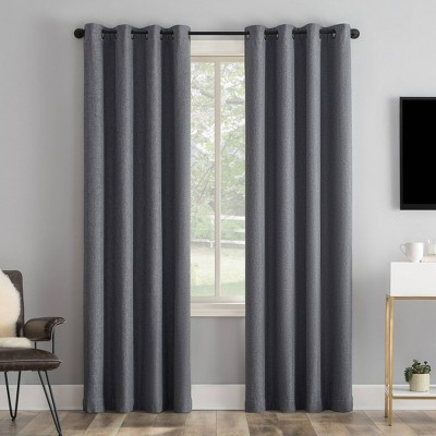 Tyrell Tonal Textured Draft Shield Fleece Insulated 100% Blackout Grommet Top Curtain Panel - Sun Zero