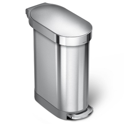 simplehuman 45 ltr Slim Step Trash Can Stainless Steel