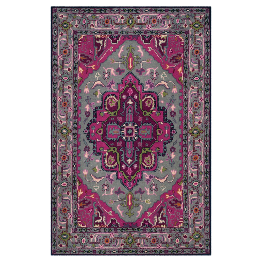 Gray/Pink Medallion Tufted Area Rug 4'x6' - Safavieh