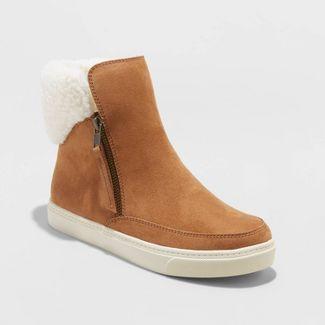 Women's Lei Microsuede Sherpa Sneakers Booties - Universal Thread™ Cognac 11