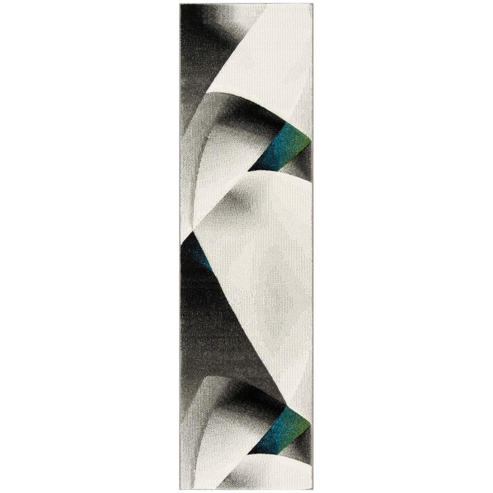 22X8 Geometric Loomed Runner Gray/Teal - Safavieh Top