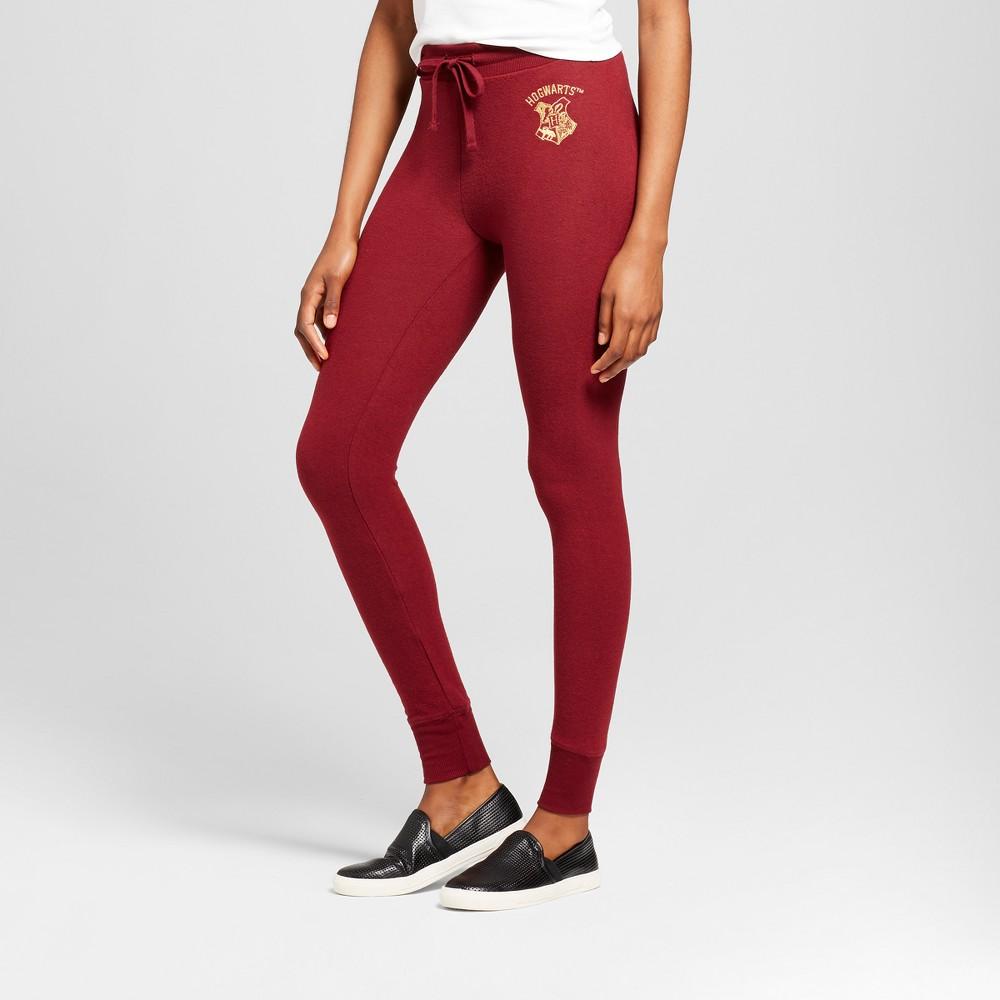 Women's Harry Potter Hogwarts Graphic Jogger Pants (Juniors') - Burgundy L, Red