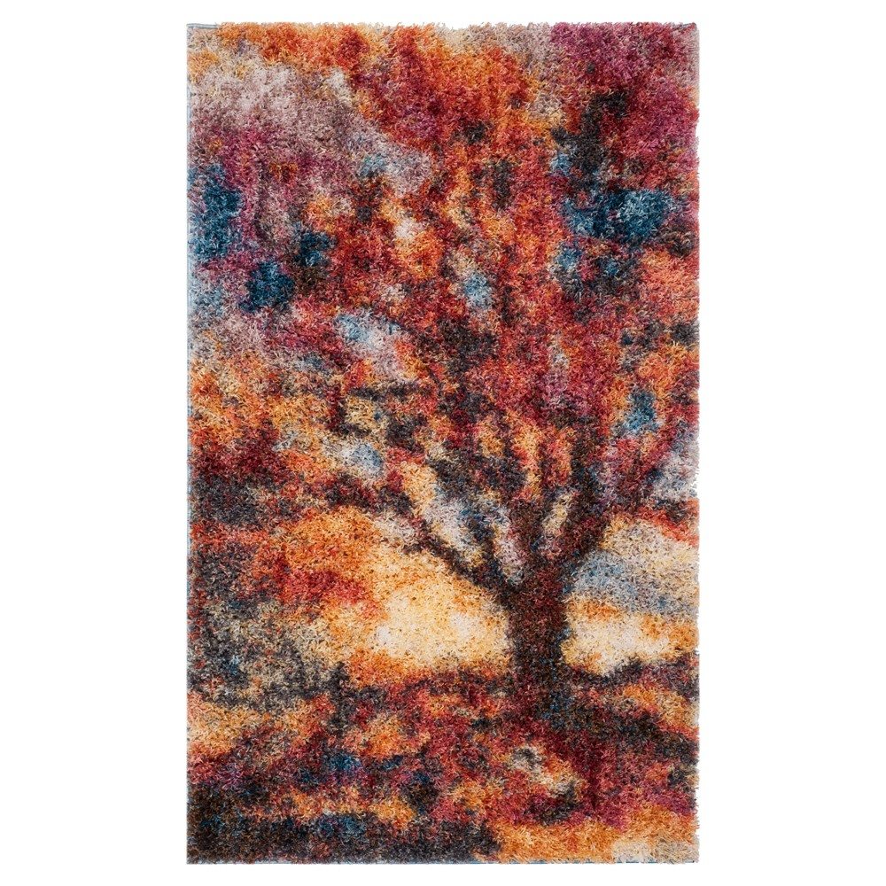 Rust/Blue Tree Loomed Accent Rug 3'X5' - Safavieh, Blue Red