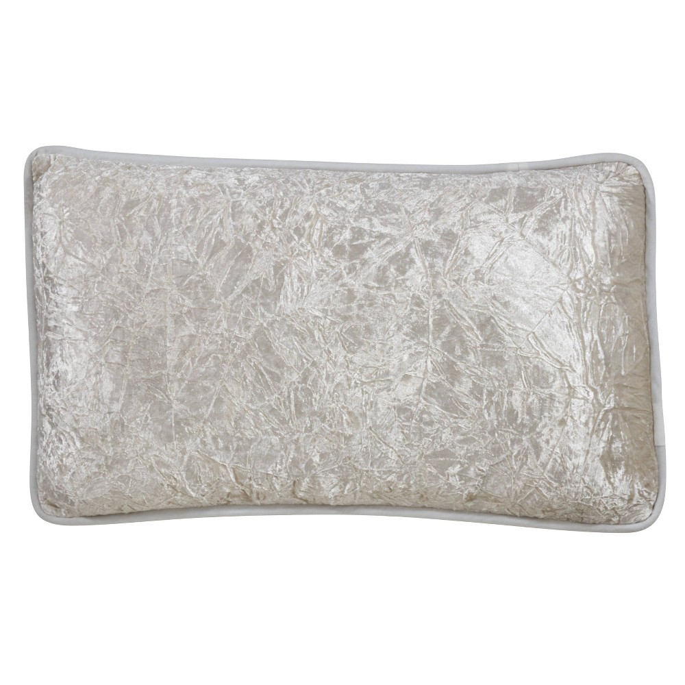 "Image of ""12""""x20"""" Crushed Velvet Pillow Cover Ivory - SARO Lifestyle, White"""