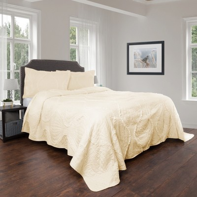 3pc Full/Queen Hypoallergenic Oversized Curved Ruffle Design Quilt Set Ivory - Charlize Series By Yorkshire Home